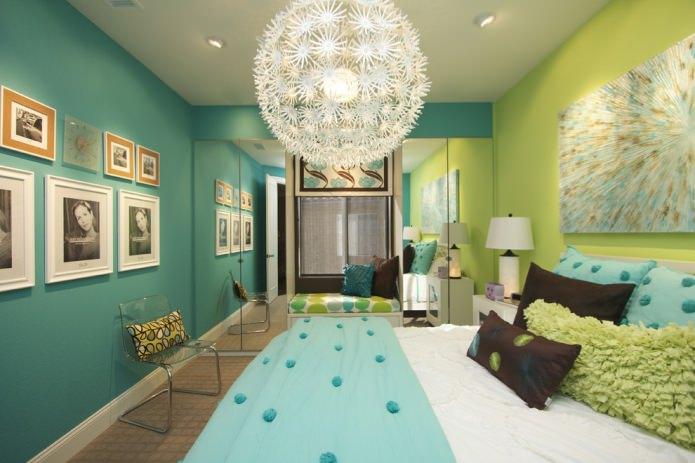 chambre verte et turquoise