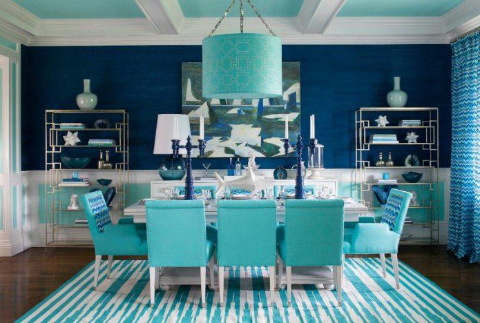 salle à manger bleu turquoise