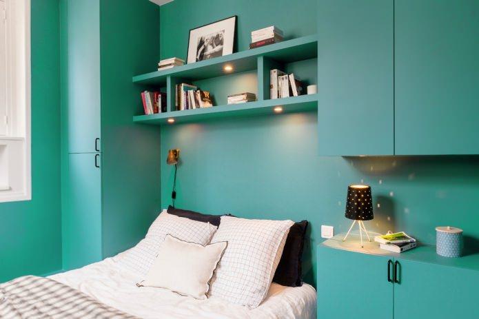 chambre de couleur turquoise