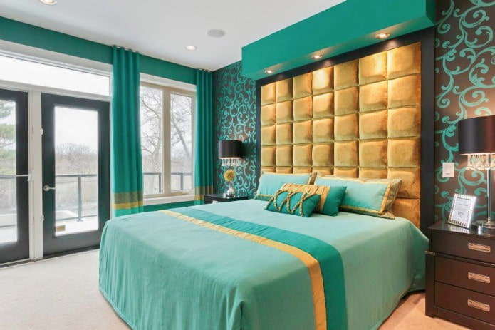 chambre en or turquoise