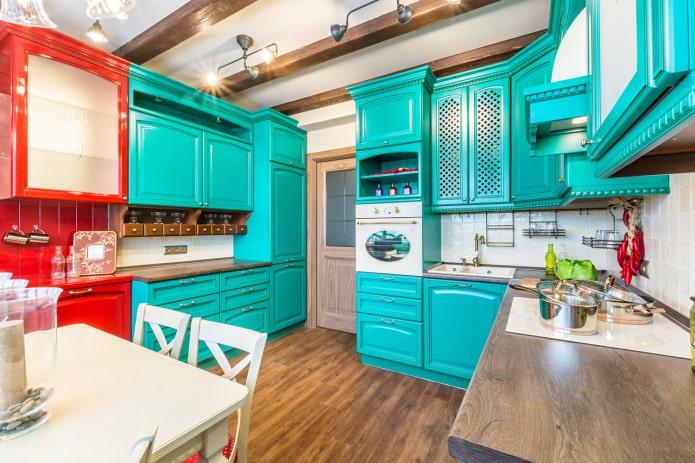 set de cuisine en deux couleurs vives