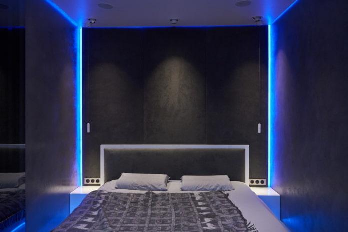éclairage à l'intérieur de la chambre dans un style high-tech