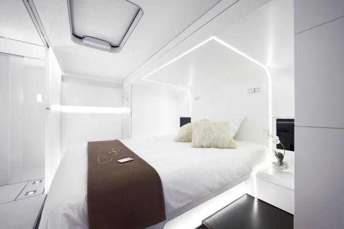 textiles à l'intérieur de la chambre dans un style high-tech