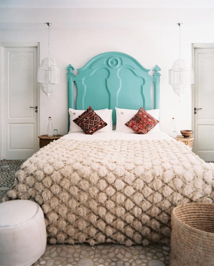 Tête de lit turquoise