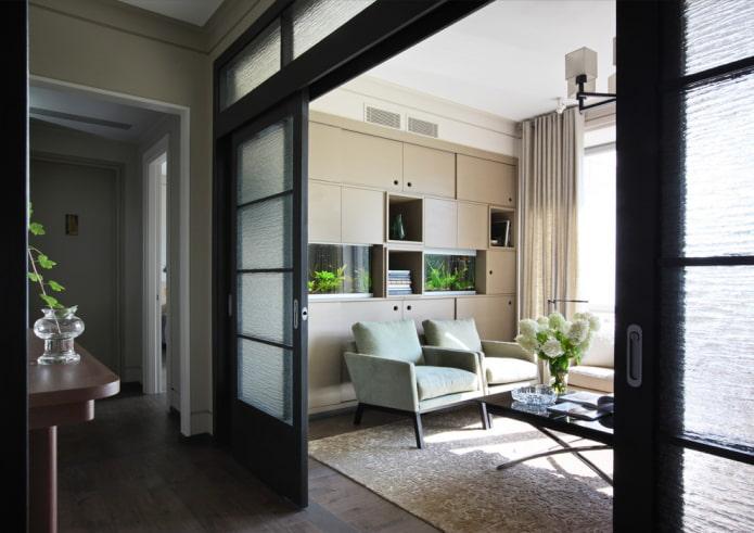 portes avec verre ondulé à l'intérieur