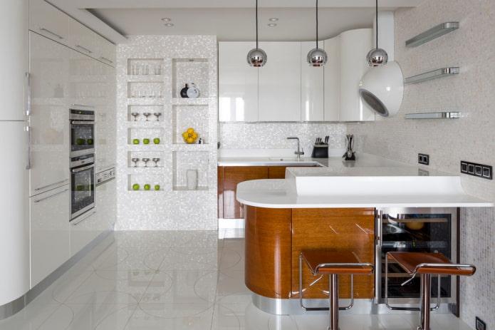 étagères en placoplâtre à l'intérieur de la cuisine