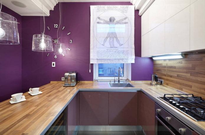 rideaux à l'intérieur de la cuisine dans des tons violets