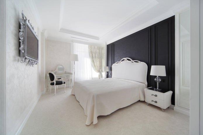 design d'intérieur de chambre en noir et blanc