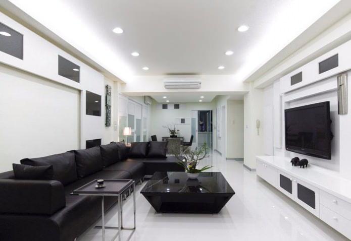 intérieur du salon en noir et blanc