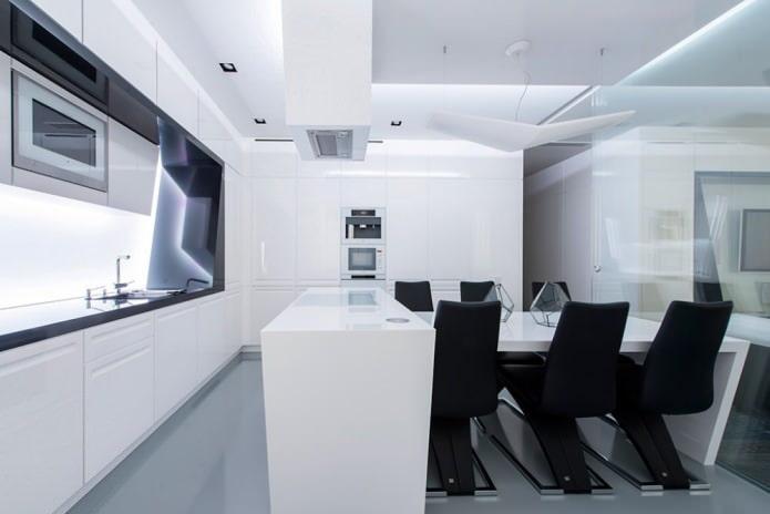 design d'intérieur de cuisine en noir et blanc
