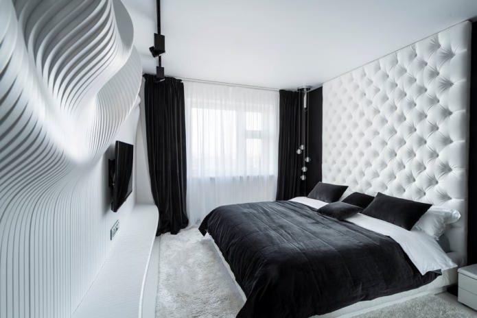 Intérieur de la chambre en noir et blanc
