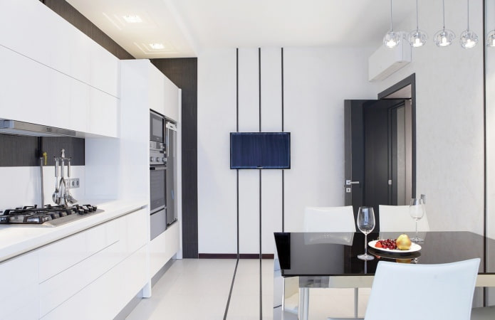 intérieur de cuisine en noir et blanc