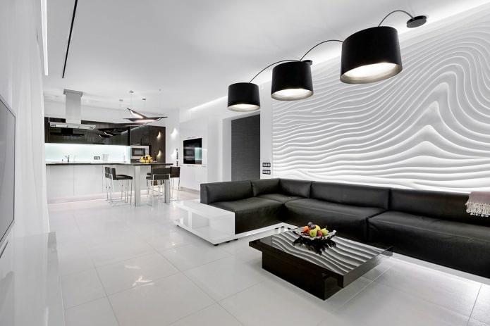 design d'intérieur noir et blanc de la cuisine-salon