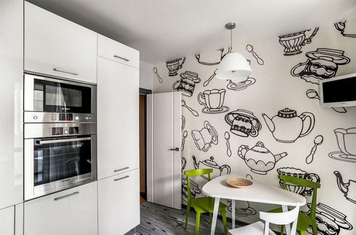 intérieur de cuisine noir et blanc avec ajout de vert