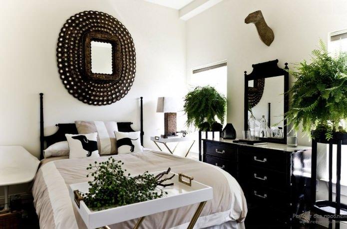 intérieur de chambre noir et blanc avec ajout de vert