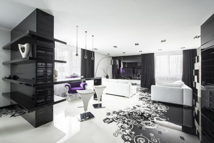 intérieur noir et blanc de la pièce avec ajout de violet