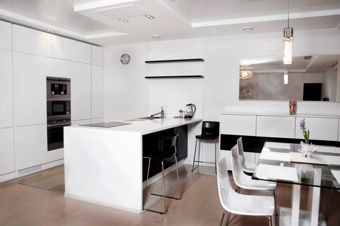 intérieur de cuisine noir et blanc
