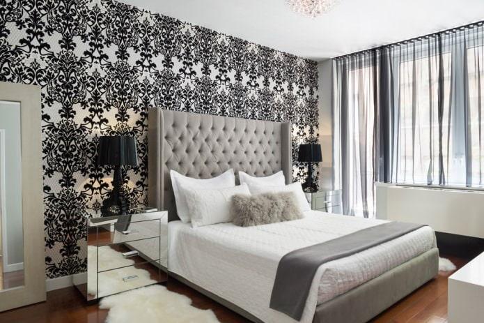 intérieur de chambre noir et blanc avec ajout de beige