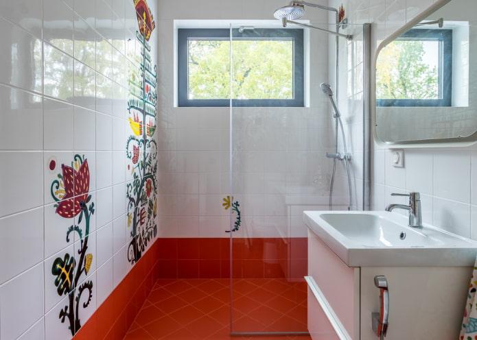 Cabine de douche avec portes transparentes