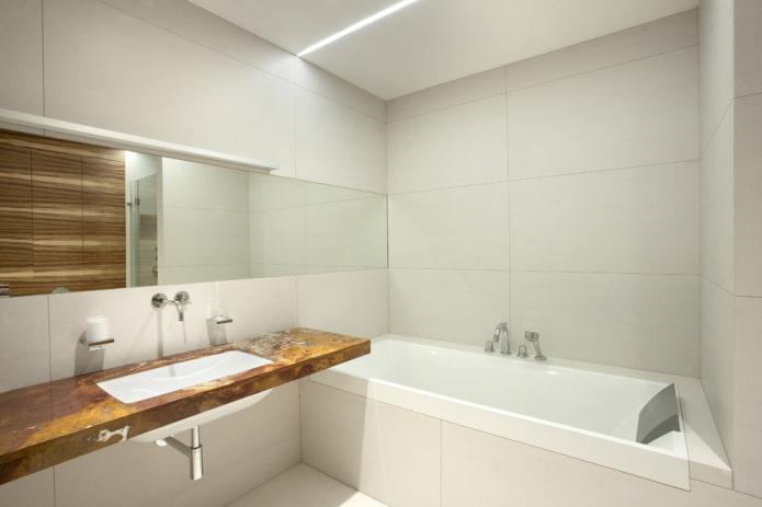 plomberie dans la salle de bain dans le style du minimalisme