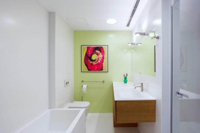 décoration et éclairage dans la salle de bain dans le style du minimalisme