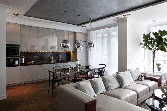 salon combiné avec cuisine