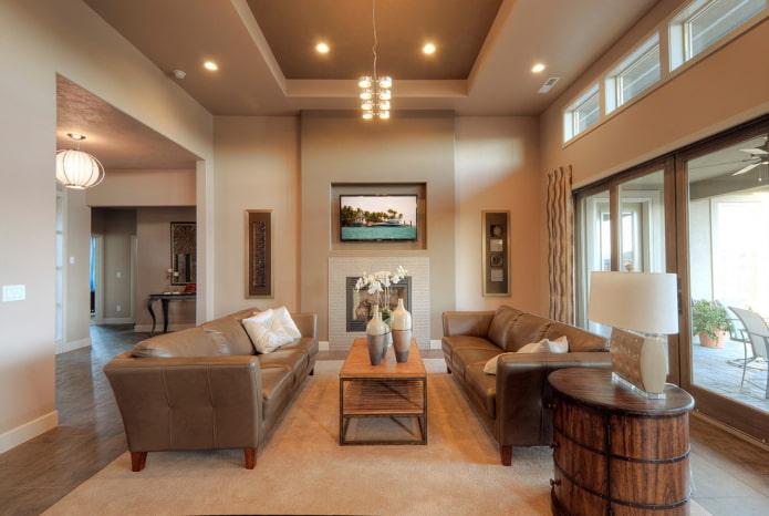 plafond en plaques de plâtre à deux niveaux dans le hall