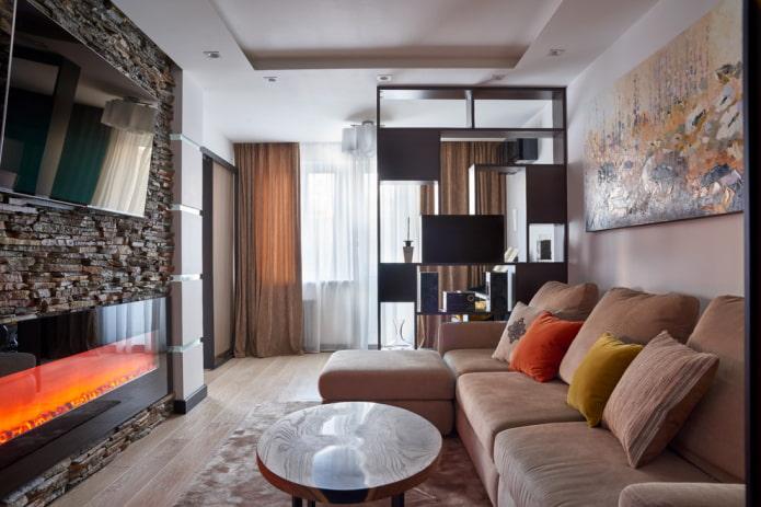 plafond en placoplâtre duplex dans un salon étroit