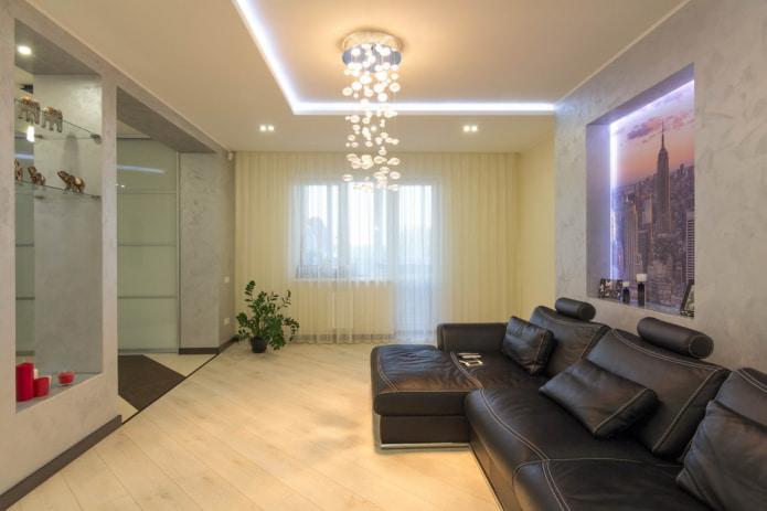 plafond en placoplâtre rétroéclairé dans le hall