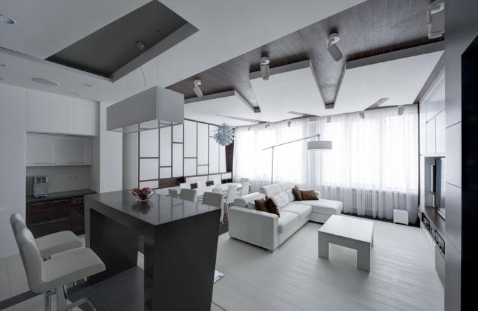 plafond en plaques de plâtre figuré sous la forme d'une forme géométrique non standard