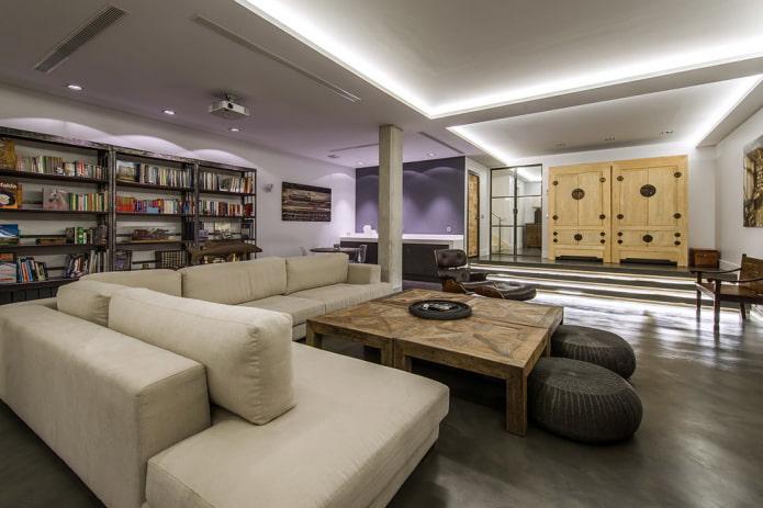 plafond en plaques de plâtre style loft