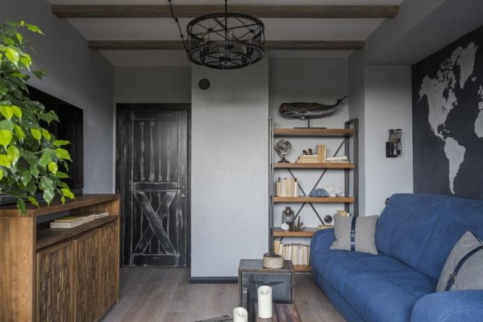 portes intérieures du salon dans le style loft