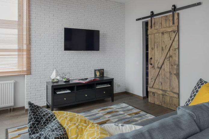 portes de grange dans un intérieur de style loft