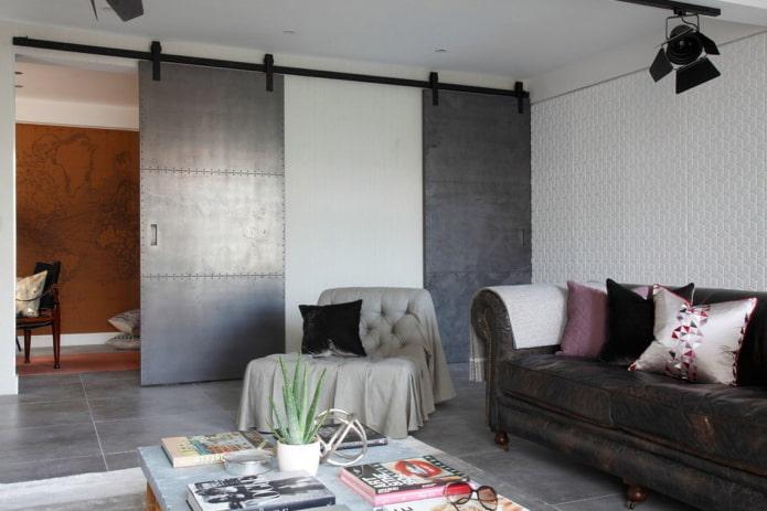 portes de grange dans un salon de style loft