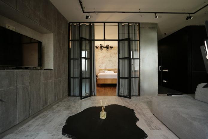 portes vitrées à l'intérieur dans le style loft