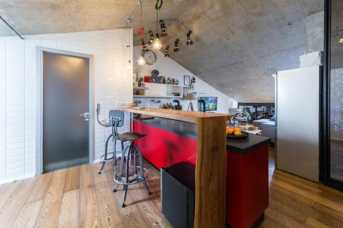 portes grises à l'intérieur dans le style loft