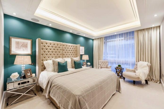 peindre les murs de la chambre en turquoise