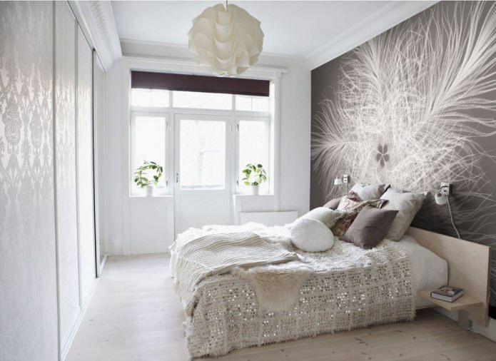 conception de chambre avec des photos murales grises