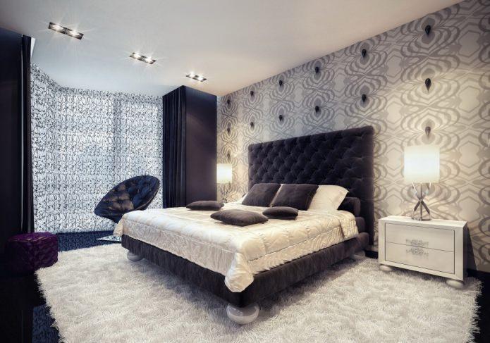 papier peint gris dans la chambre