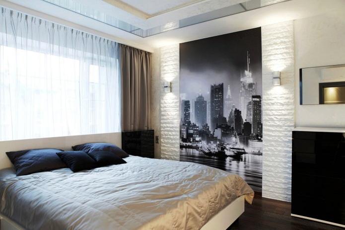 Papier peint photo avec l'image de la métropole sur le mur de la chambre