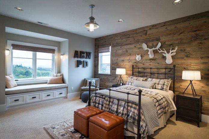 Chambre avec mur en bois