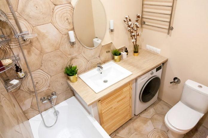 carrelage effet bois dans la salle de bain