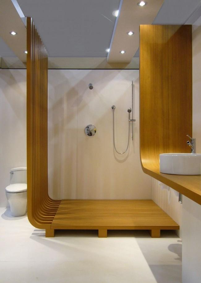 Cabine de douche de style moderne dans la salle de bain combinée