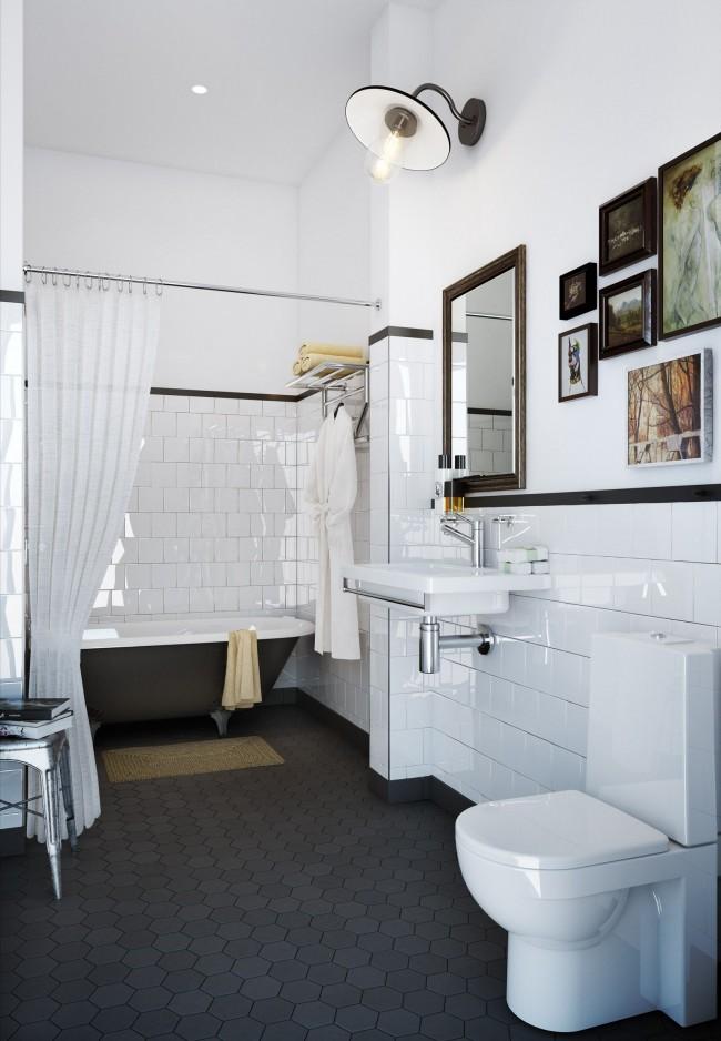 Carreaux de céramique dans un bel intérieur de salle de bain combiné