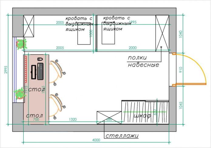 Une variante de l'aménagement de la crèche pour deux