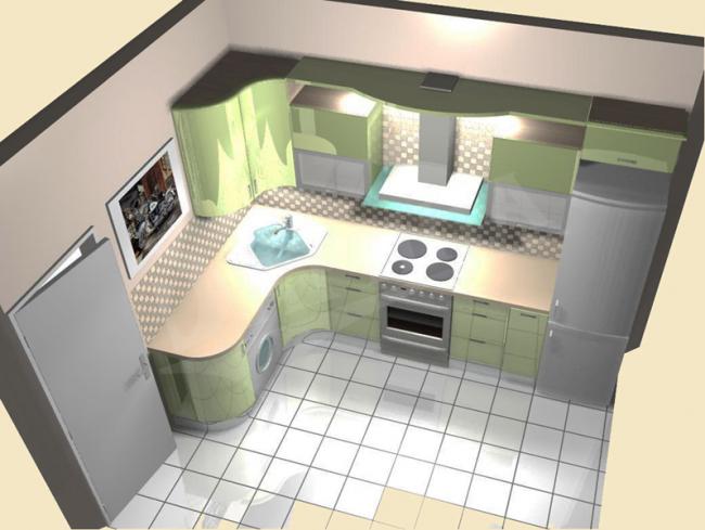 Modèle de cuisine 3D pour 8 m².  m.