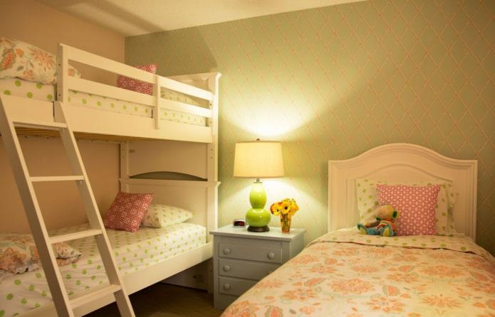 éclairage dans la chambre pour trois enfants