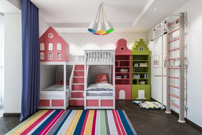 conception de chambre pour trois enfants