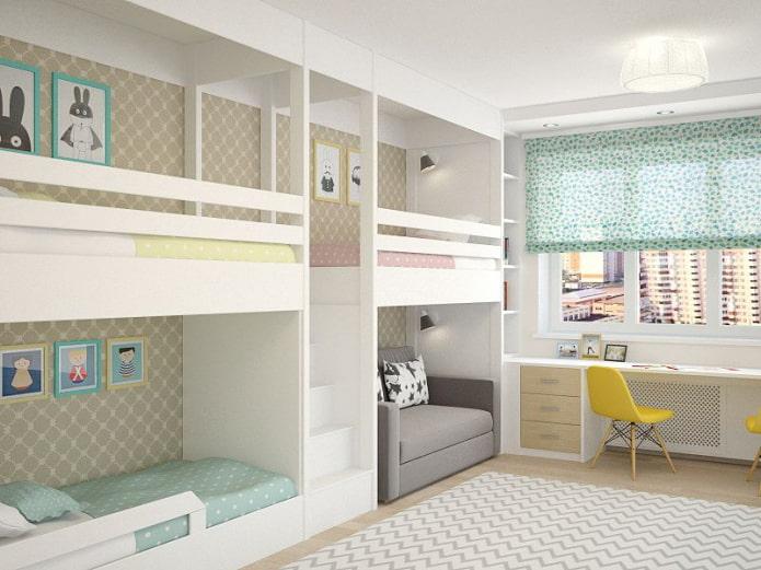 conception de chambre pour trois enfants de sexe différent