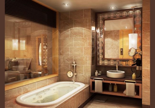 Projet de salle de bain dans des tons chauds de pierre et de bois.  La salle de bain et la chambre sont séparées par une très grande fenêtre avec stores